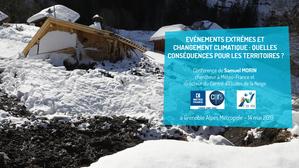 Conférence de Samuel Morin, chercheur à Météo France : événements extrêmes et changement climatique : quelles  conséquences pour les territoires ?